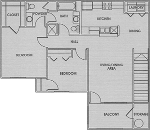 Two Bedroom / One and One Half Bath - 1,080 Sq. Ft.*